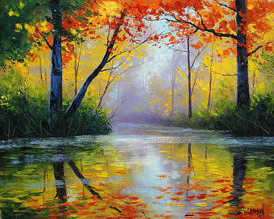 Oaks Painting - Golden River by Graham Gercken