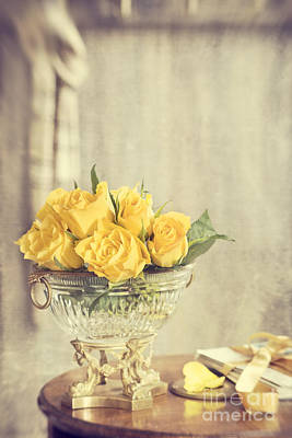 Antique Roses Vase Wall Art - Photograph - Golden Roses by Amanda Elwell