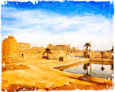Golden Ruins Of Karnak Art Print by Mark E Tisdale