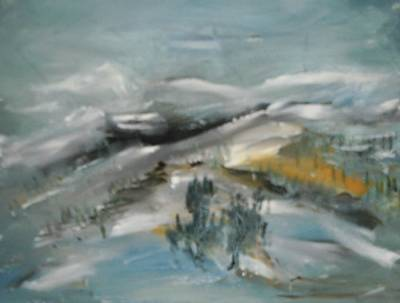 Ski Run Painting - Golden Run by Edward Wolverton