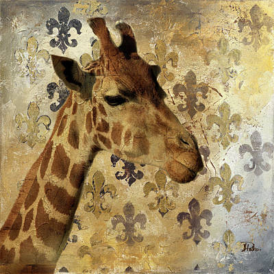 Golden Digital Art - Golden Safari IIi (giraffe) by Patricia Pinto
