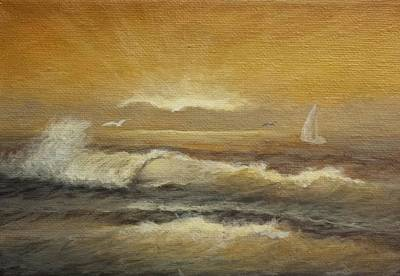 Painting - Golden Sail by Natascha De la Court
