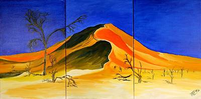 Painting - Golden Sand Dune_triptych by Richard Jules