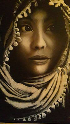 Conservative Painting - Golden Scarf by Divya Seengal