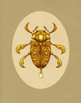 Golden Scroll Beetle Art Print