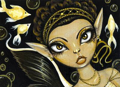 Aceo Painting - Golden Sea Princess by Elaina  Wagner