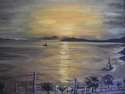 Golden Sea View Art Print