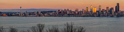 Citiscapes Photograph - Golden Seattle Skyline Sunset by Mike Reid