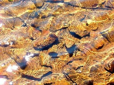 Photograph - Golden Shallow Water And Rocks 1 by Becky Lupe