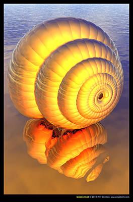 Pearlescent Digital Art - Golden Shell  by Ann Stretton