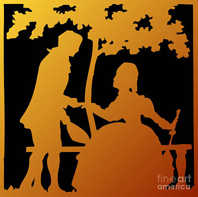 Digital Art - Golden Silhouette Garden Proposal Will You Marry Me by Rose Santuci-Sofranko