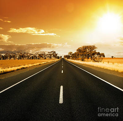Golden Sky And Road Art Print by Boon Mee