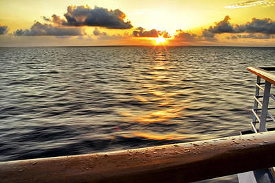 Photograph - Golden Sky At Sea by Jason Politte