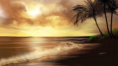 Art Print featuring the digital art Golden Sky Over Tropical Beach by Anthony Fishburne