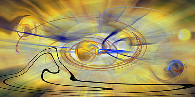 Digital Art - Golden Space - Abstract by rd Erickson