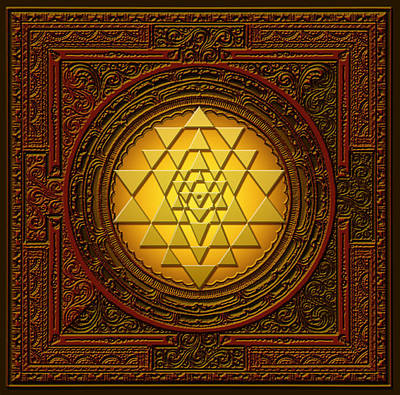 Digital Art - Golden  Sri Lakshmi Yantra by Lila Shravani