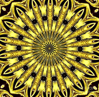 Photograph - Golden Stained Glass Kaleidoscope by Rose Santuci-Sofranko