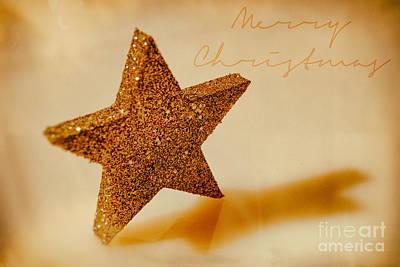 Golden Star Merry Christmas Art Print by Sabine Jacobs