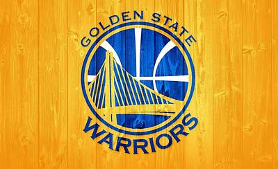 Mixed Media - Golden State Warriors Barn Door by Dan Sproul