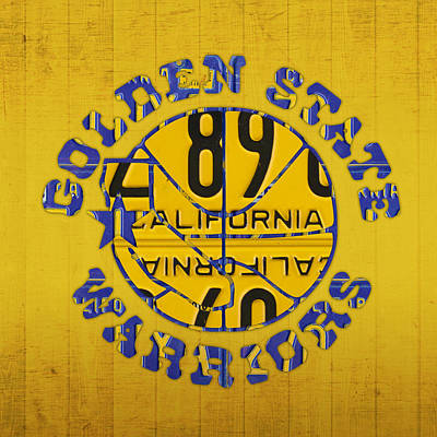 Sports Mixed Media - Golden State Warriors Basketball Team Retro Logo Vintage Recycled California License Plate Art by Design Turnpike