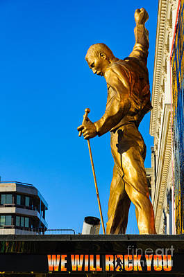 Photograph - Golden Statue Of Freddy Mercury Of Queen - We Will Rock You Musical by David Hill