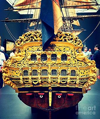 Photograph - Golden Stern Of Ship Model by John Potts