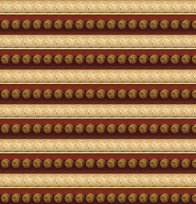 Golden Strip And Vintage Knob Pattern Chinese Decorations Art Print by Navin Joshi