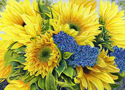 Sunflowers Royalty-Free and Rights-Managed Images - Golden Sunflowers by Karen Wright
