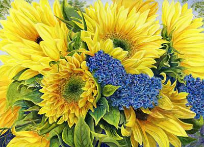 Sunflower Painting - Golden Sunflowers by Karen Wright