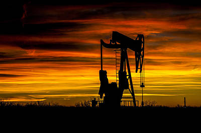 Photograph - Golden Sunrise And West Texas Black Gold by John Dickinson