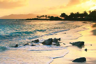 Golden Sunrise On Sapphire Beach Art Print by Roupen  Baker