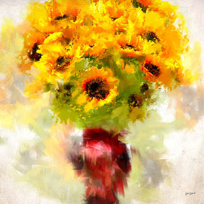 Sunflowers Digital Art - Golden Suns by Lourry Legarde