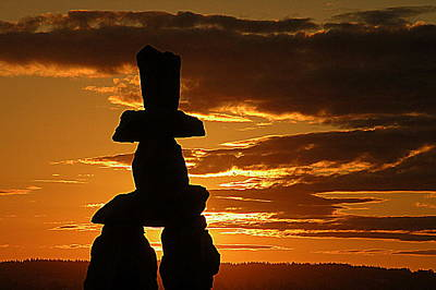 Golden Sunset And Inukshuk  Art Print by Brian Chase