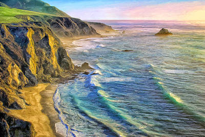 Golden Sunset At Big Sur Art Print