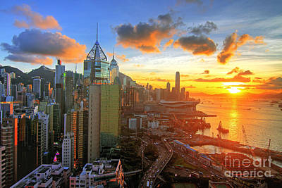 Reflexion Photograph - Golden Sunset In Hong Kong by Lars Ruecker