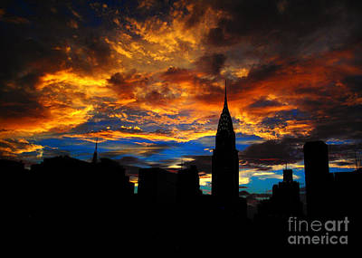 Photograph - Golden Sunset Indigo Sky - With Chrysler Building by Miriam Danar