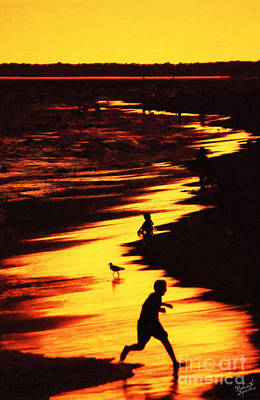 Summer Fun Painting - Golden Sunset  by Nishanth Gopinathan