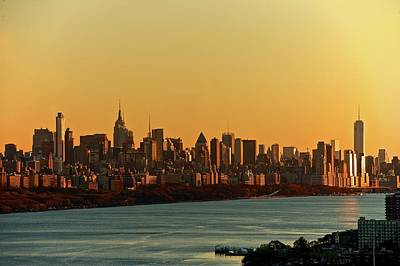 Cityscapes Photograph - Golden Sunset On Nyc Skyline by Robert D. Barnes