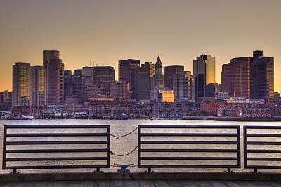 Boston Harbor Photograph - Golden Sunset Over Boston by Joann Vitali
