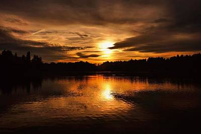 Photograph - Golden Sunset Over The Water by Patricia Strand