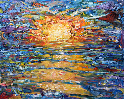 Painting - Golden Sunset At Peniche Portugal Supertubos by Pete Caswell