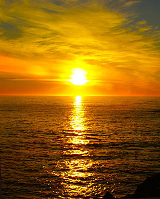 Ocean Side Digital Art - Golden Sunset Pismo Beach 2 by Barbara Snyder