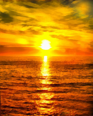 Ocean Side Digital Art - Golden Sunset Pismo Beach California by Barbara Snyder