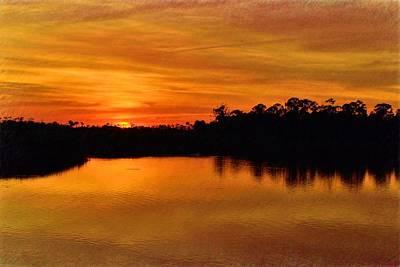 Photograph - Golden Sunset Reflections by Richard Zentner