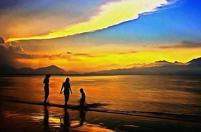 Digital Art - Golden Sunset Silhouettes by Georgiana Romanovna