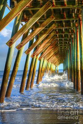 Photograph - Golden Sunset Under The Pier by Kathy Baccari