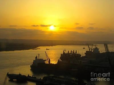 San Diego Artist Photograph - Golden Sunset Viewed From Coronado Bridge by Claudia Ellis