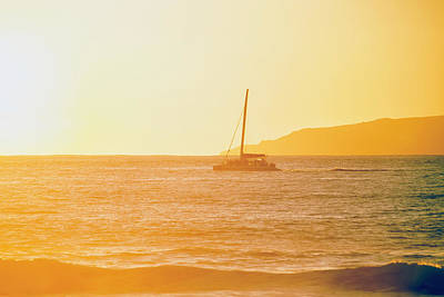 Niihau Hawaii Photograph - Golden Surf Visible From Barking Sands by Ian Ludwig