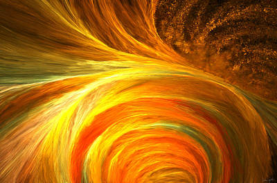 Red Abstracts Digital Art - Golden Swirls by Lourry Legarde