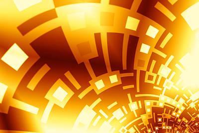 Golden Swirly Circuitboard Art Print by Hakon Soreide